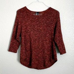 UO Maroon Sweater 3/4 Sleeve Top